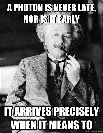 a photon is never late nor is it early it arrives precisely - Special Relativity Einstein