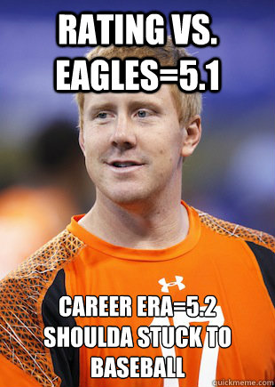 rating vs eagles51 career era52 shoulda stuck to baseba - BRANDON WEEDEN