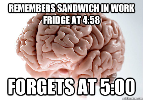 remembers sandwich in work fridge at 458 forgets at 500 - Scumbag Brain