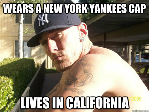 wears a new york yankees cap lives in california - Chad Elliott