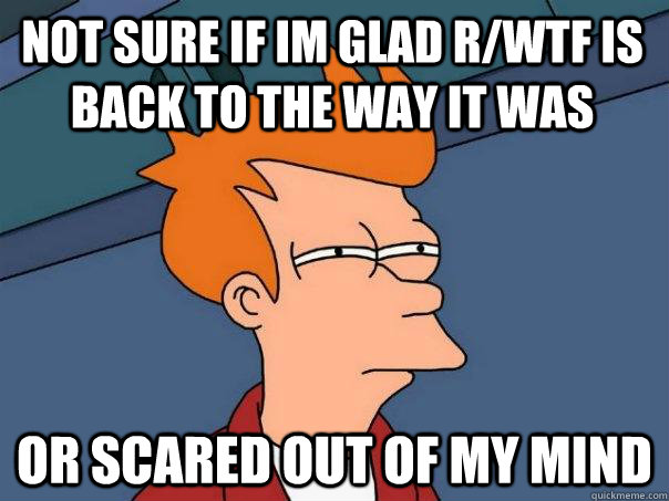 not sure if im glad rwtf is back to the way it was or scare - Futurama Fry