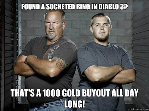 found a socketed ring in diablo 3 thats a 1000 gold buyout - storage wars