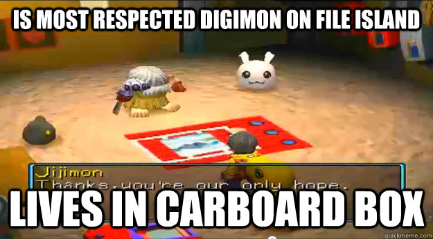 is most respected digimon on file island lives in carboard b -