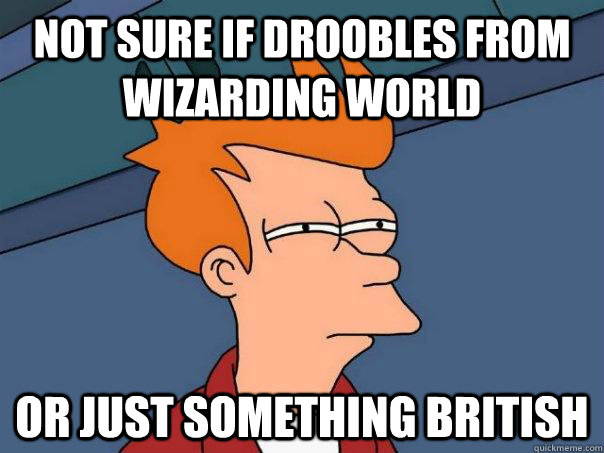 not sure if droobles from wizarding world or just something  - Futurama Fry