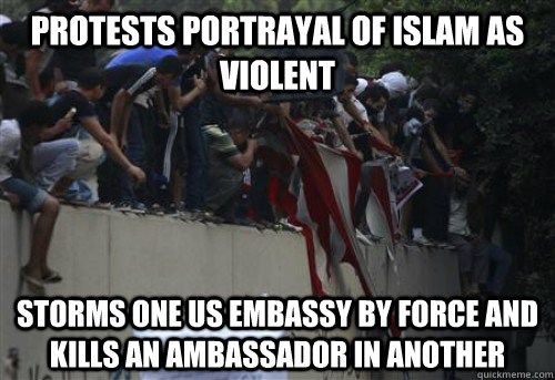 protests portrayal of islam as violent storms one us embassy -