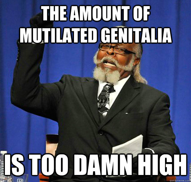 the amount of mutilated genitalia is too damn high - Jimmy McMillan