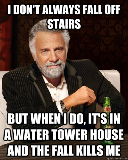 i dont always fall off stairs but when i do its in a wate - The Most Interesting Man In The World