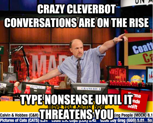 crazy cleverbot conversations are on the rise type nonsense  - Mad Karma with Jim Cramer
