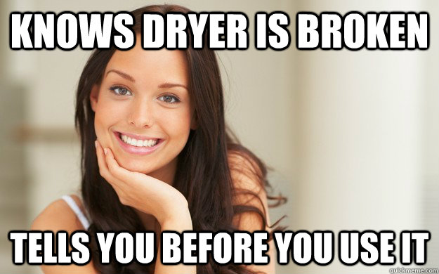 knows dryer is broken tells you before you use it - Good Girl Gina