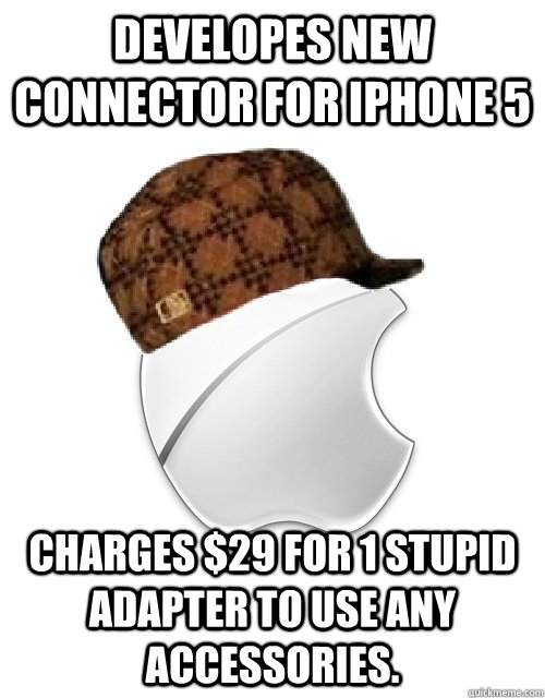 developes new connector for iphone 5 charges 29 for 1 stupi - Scumbag Apple