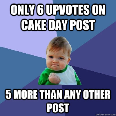 only 6 upvotes on cake day post 5 more than any other post - Success Kid