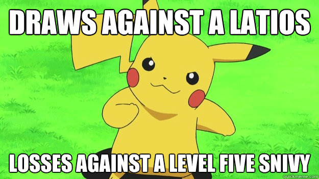 draws against a latios losses against a level five snivy -