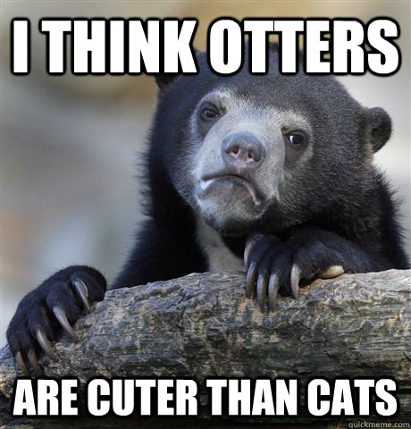 i think otters are cuter than cats - Confession Bear