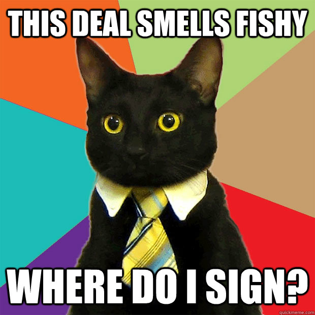 this deal smells fishy where do i sign - Business Cat
