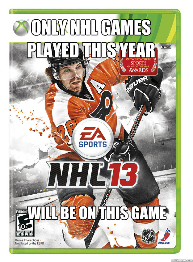 only nhl games played this year will be on this game -