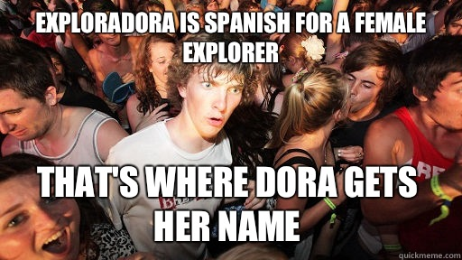 Exploradora is spanish for a female explorer Thats where Dor - Sudden Clarity Clarence