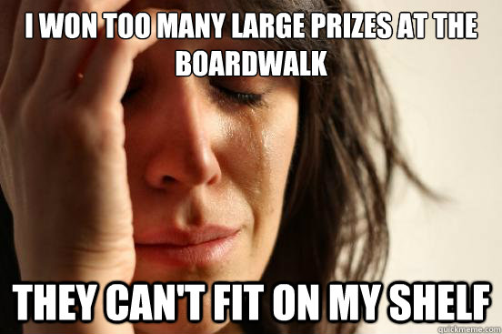 i won too many large prizes at the boardwalk they cant fit  - First World Problems
