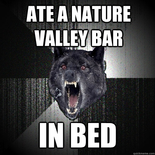 ate a nature valley bar in bed - Insanity Wolf