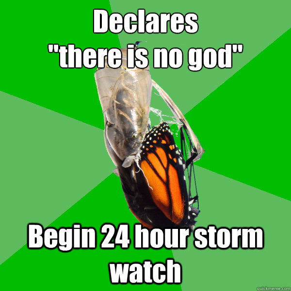 declares there is no god begin 24 hour storm watch - Transitional Atheist Butterfly