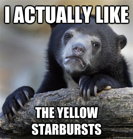 i actually like the yellow starbursts - Confession Bear