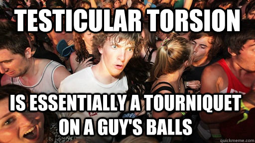 testicular torsion is essentially a tourniquet on a guys ba - Sudden Clarity Clarence