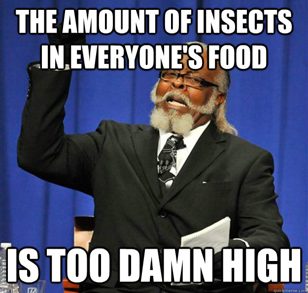 the amount of insects in everyones food is too damn high - Jimmy McMillan