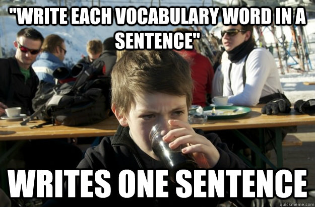 write each vocabulary word in a sentence writes one senten - Lazy Elementary School Kid