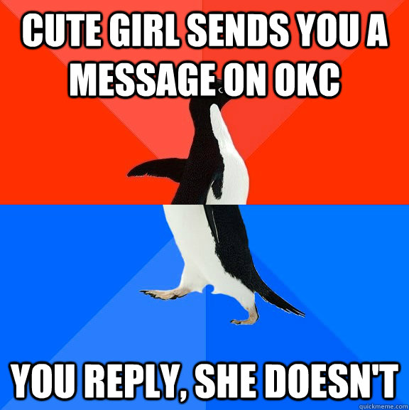 cute girl sends you a message on okc you reply she doesnt - Socially Awesome Awkward Penguin
