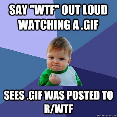 say wtf out loud watching a gif sees gif was posted to r - Success Kid