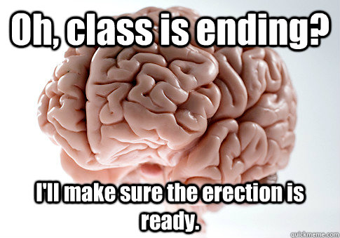 oh class is ending ill make sure the erection is ready  - Scumbag Brain