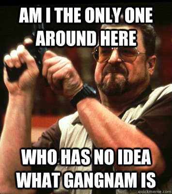 am i the only one around here who has no idea what gangnam  - Angry walter