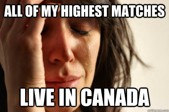all of my highest matches live in canada - First World Problems