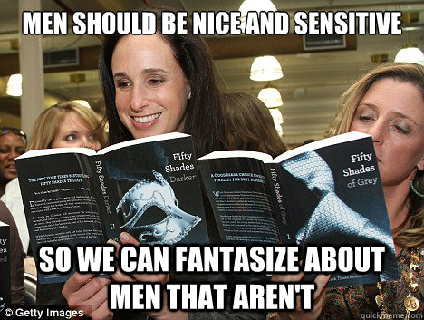 men should be nice and sensitive so we can fantasize about m - Perverted White Woman