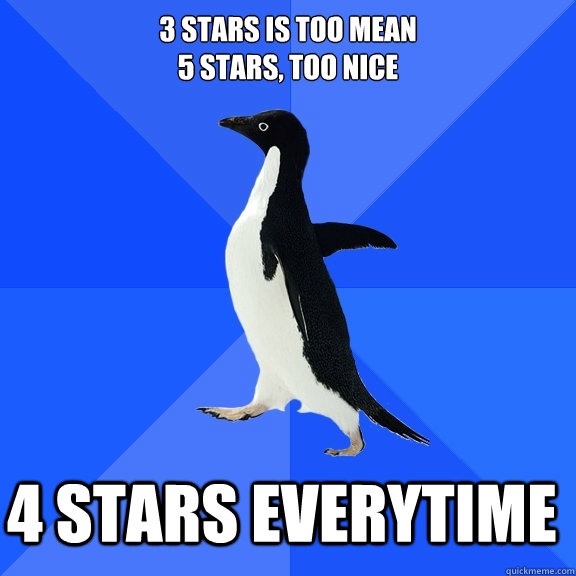 3 stars is too mean 5 stars too nice 4 stars everytime  - Socially Awkward Penguin
