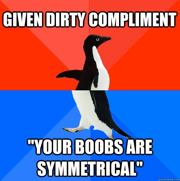 given dirty compliment your boobs are symmetrical - Socially Awesome Awkward Penguin