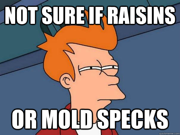 not sure if raisins or mold specks - Futurama Fry