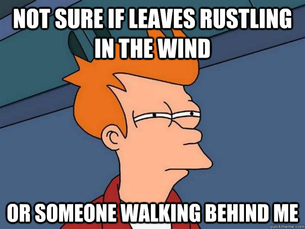 not sure if leaves rustling in the wind or someone walking b - Futurama Fry