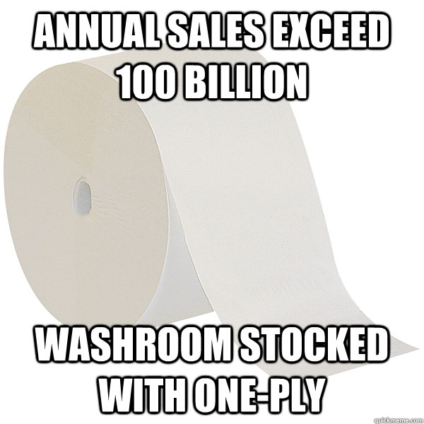 annual sales exceed 100 billion washroom stocked with onepl - Scumbag Walmart
