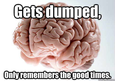 gets dumped only remembers the good times  - Scumbag Brain