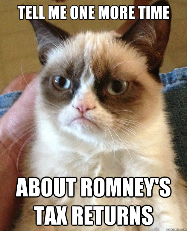 tell me one more time about romneys tax returns - Grumpy cat