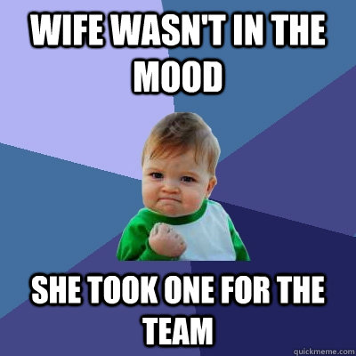wife wasnt in the mood she took one for the team - Success Kid