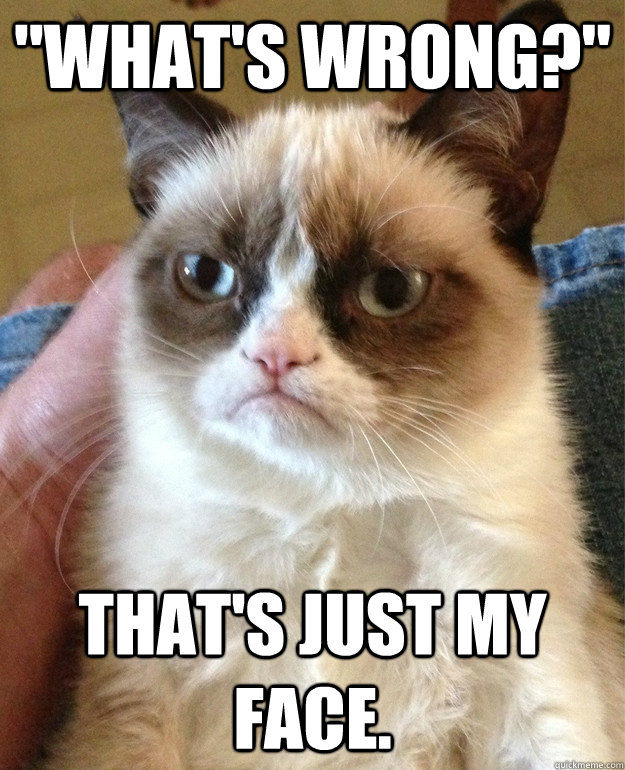 whats wrong thats just my face - Grumpy Cat