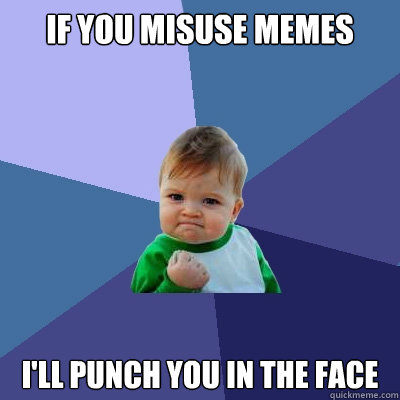 if you misuse memes ill punch you in the face - Success Kid