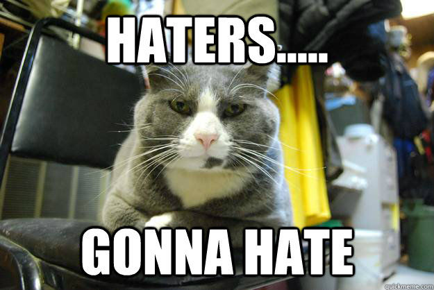 Haters..... gonna hate - Angry Cat - quickmeme