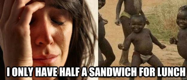 i only have half a sandwich for lunch - First World Problems  Third World Success