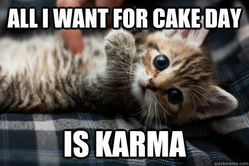 all i want for cake day is karma - kute karma kat
