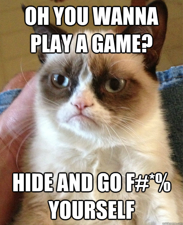 oh you wanna play a game hide and go f yourself - Grumpy Cat