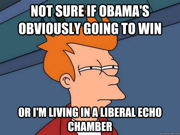 not sure if obamas obviously going to win or im living in  - Futurama Fry