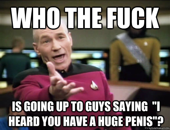 who the fuck is going up to guys saying i heard you have a - Annoyed Picard HD