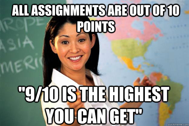 all assignments are out of 10 points 910 is the highest yo - Unhelpful High School Teacher